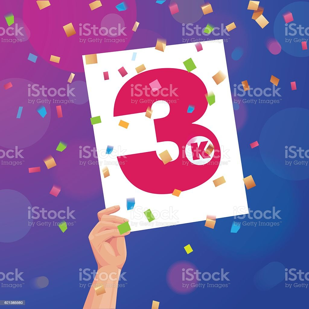 Congratulations 3K followers thanks banner background with confetti vector art illustration