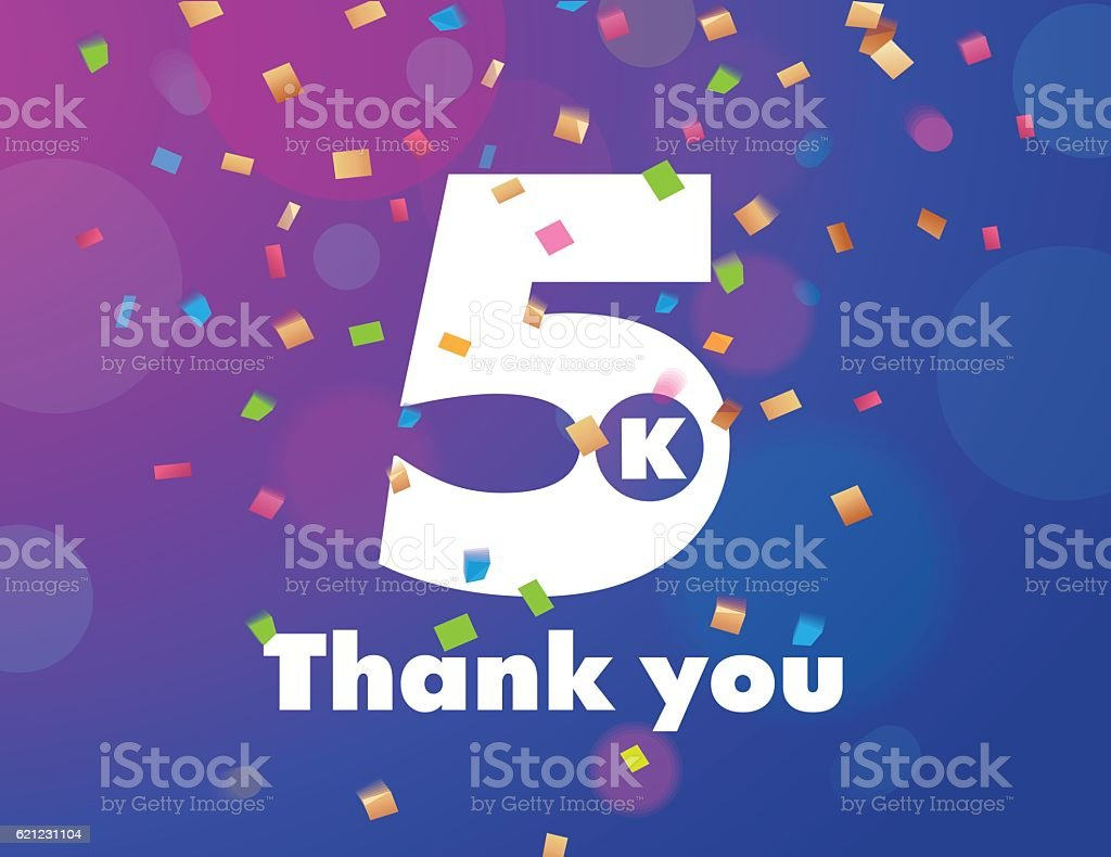 Congratulations 5K followers thanks banner background with confetti vector art illustration