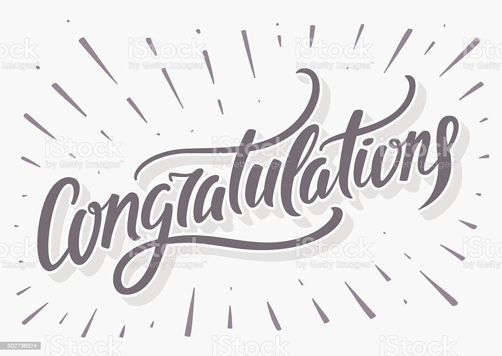 Congratulations card. Hand lettering vector art illustration