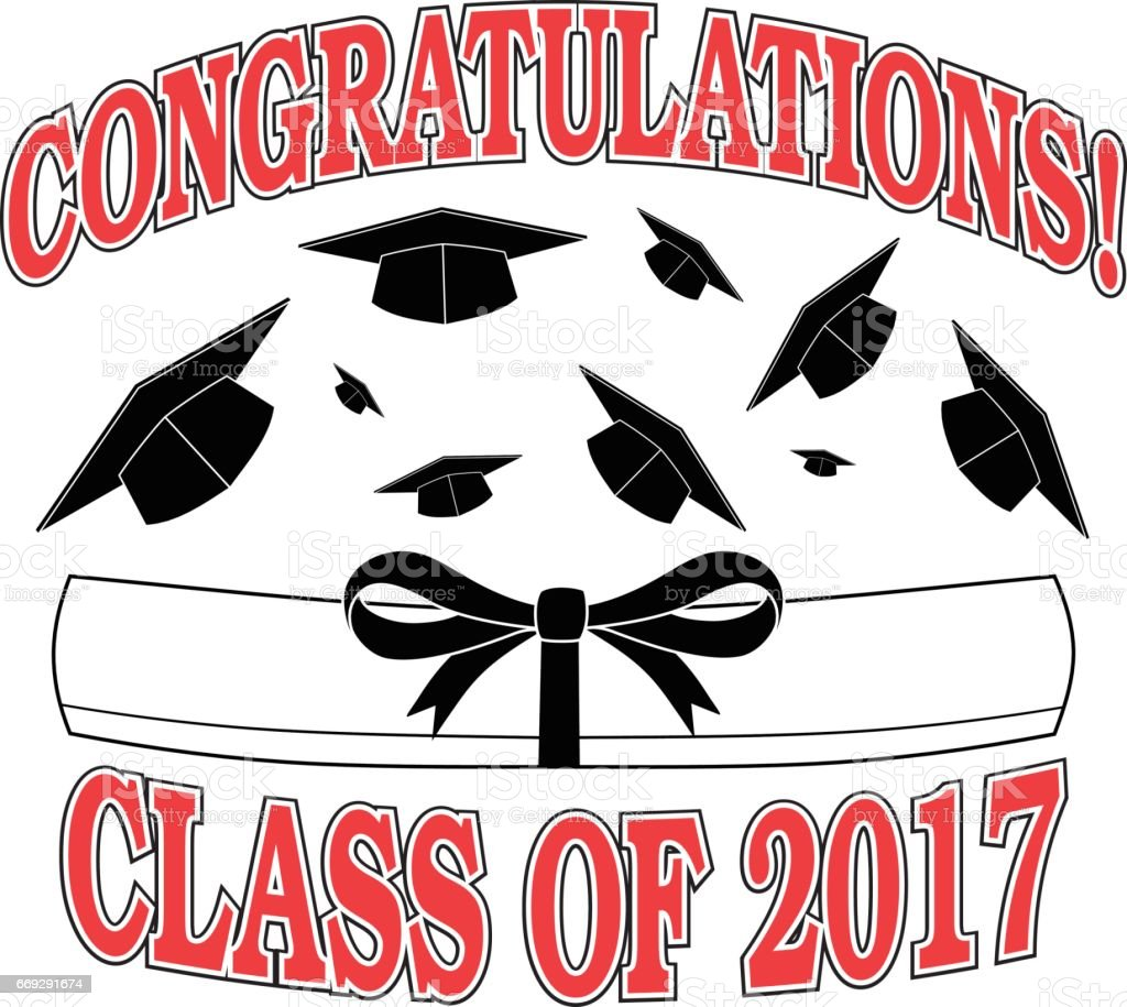 Congratulations Class of 2017 vector art illustration