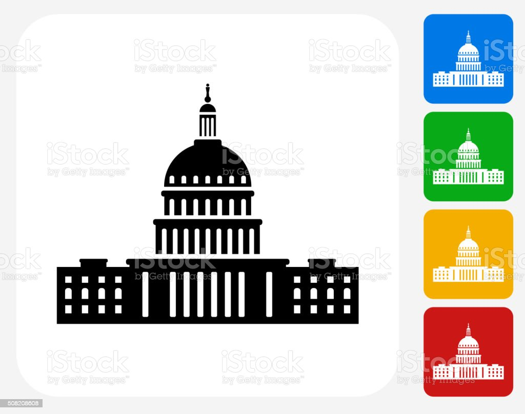 Congress Icon Flat Graphic Design vector art illustration