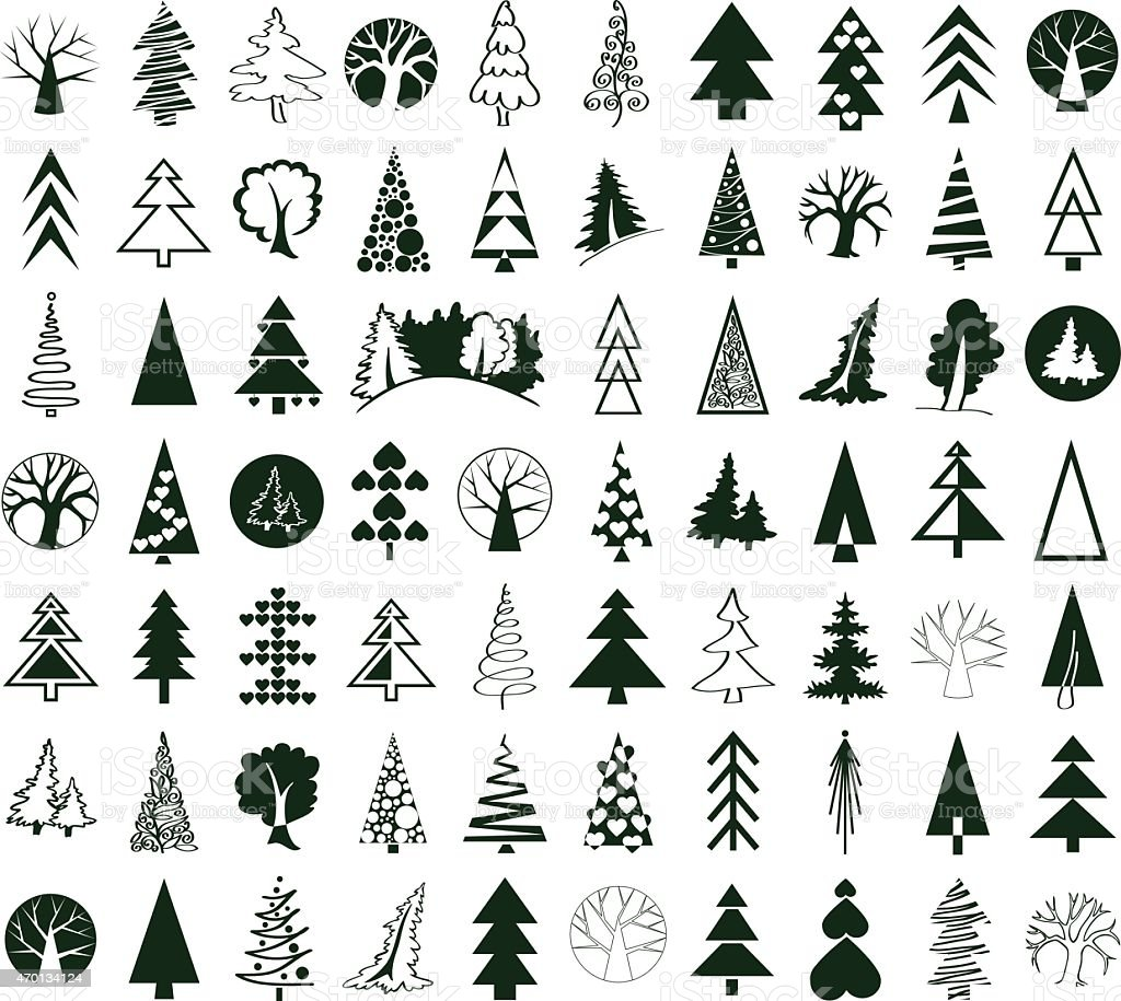 coniferous and deciduous trees icons on white vector art illustration