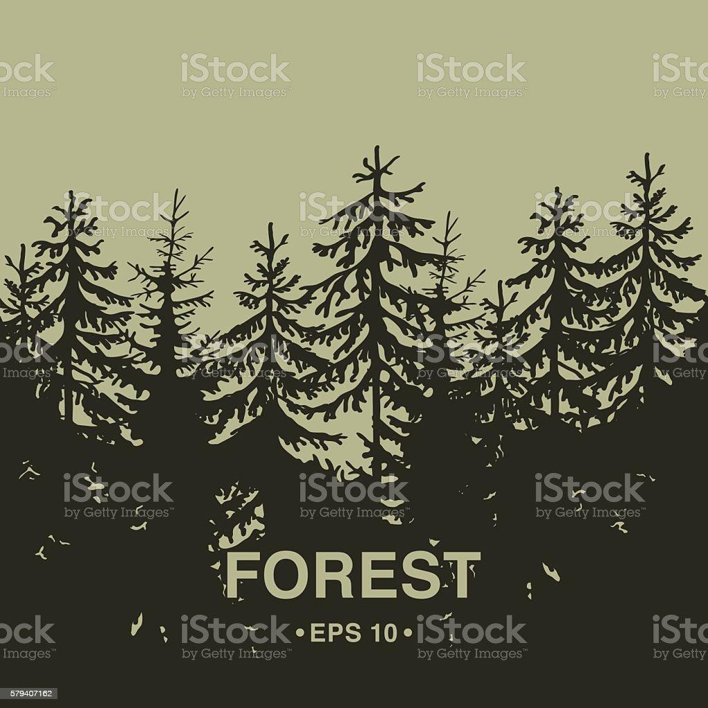 Coniferous wood silhouette. vector art illustration