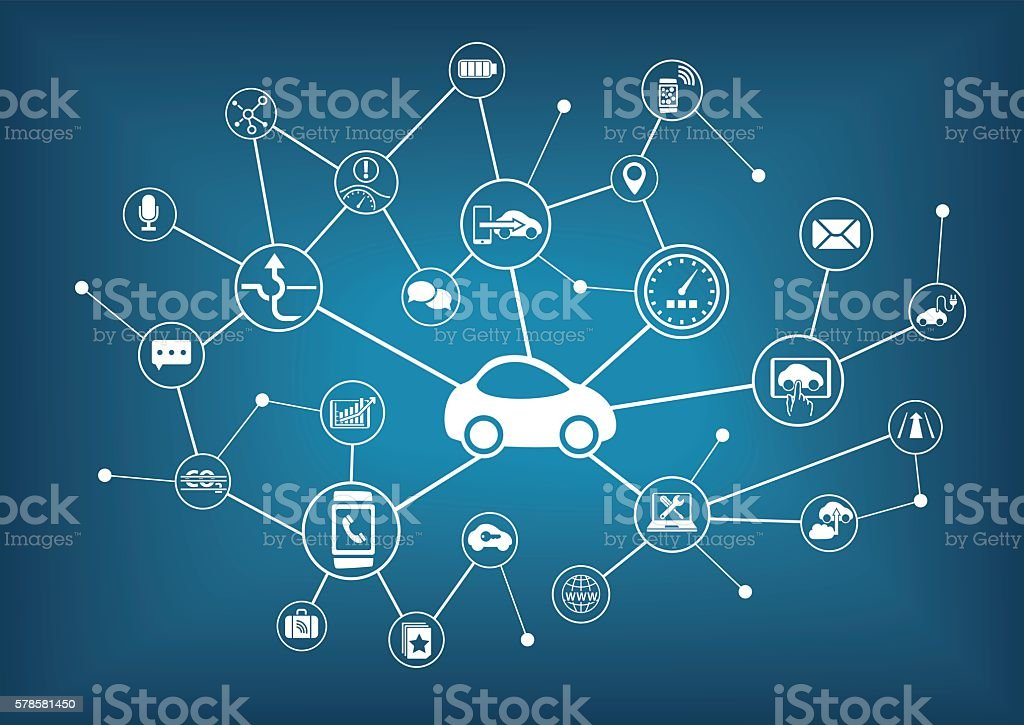 Connected car vector illustration. Concept of connecting to vehicles vector art illustration