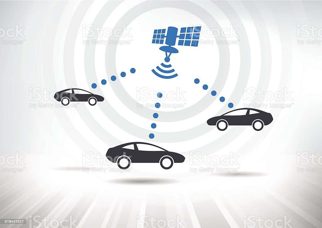 Connected Cars vector art illustration