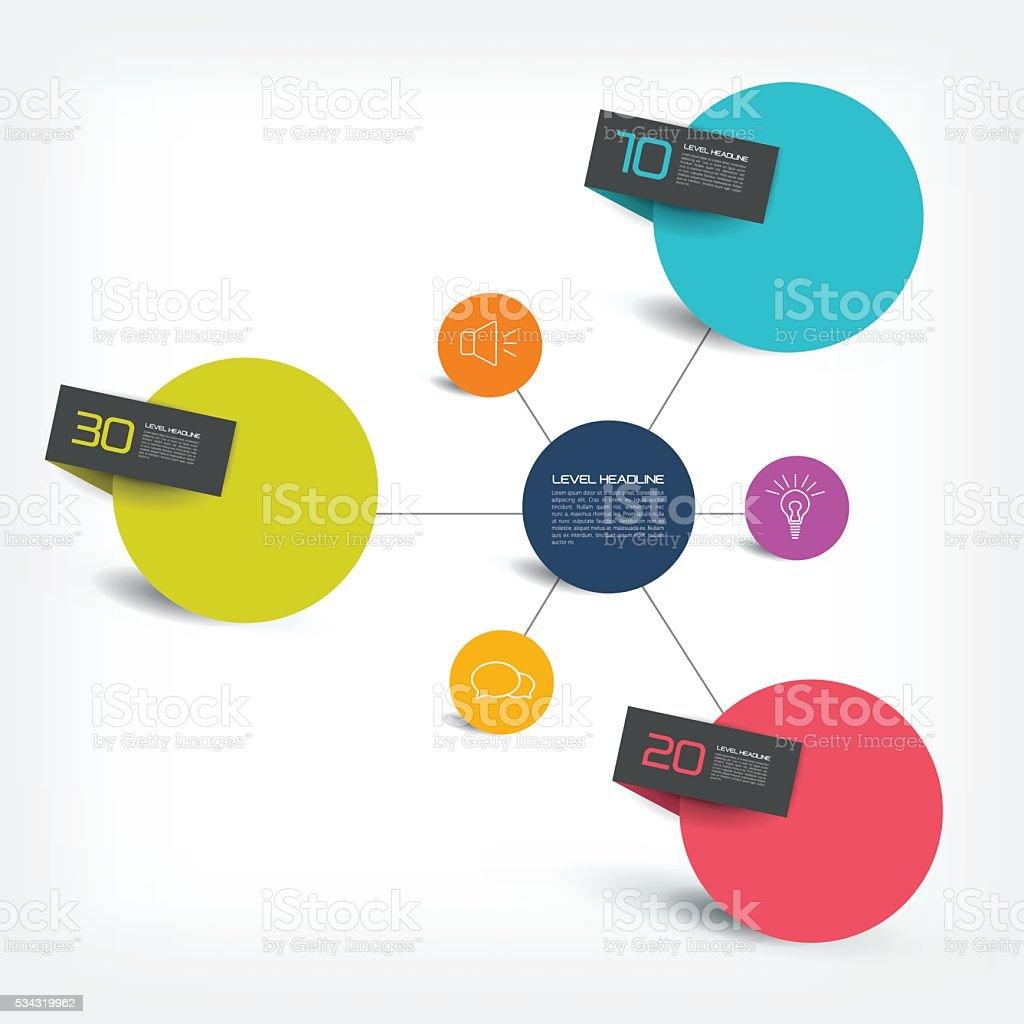 Connected circle speech diagram. vector. Infographic. vector art illustration