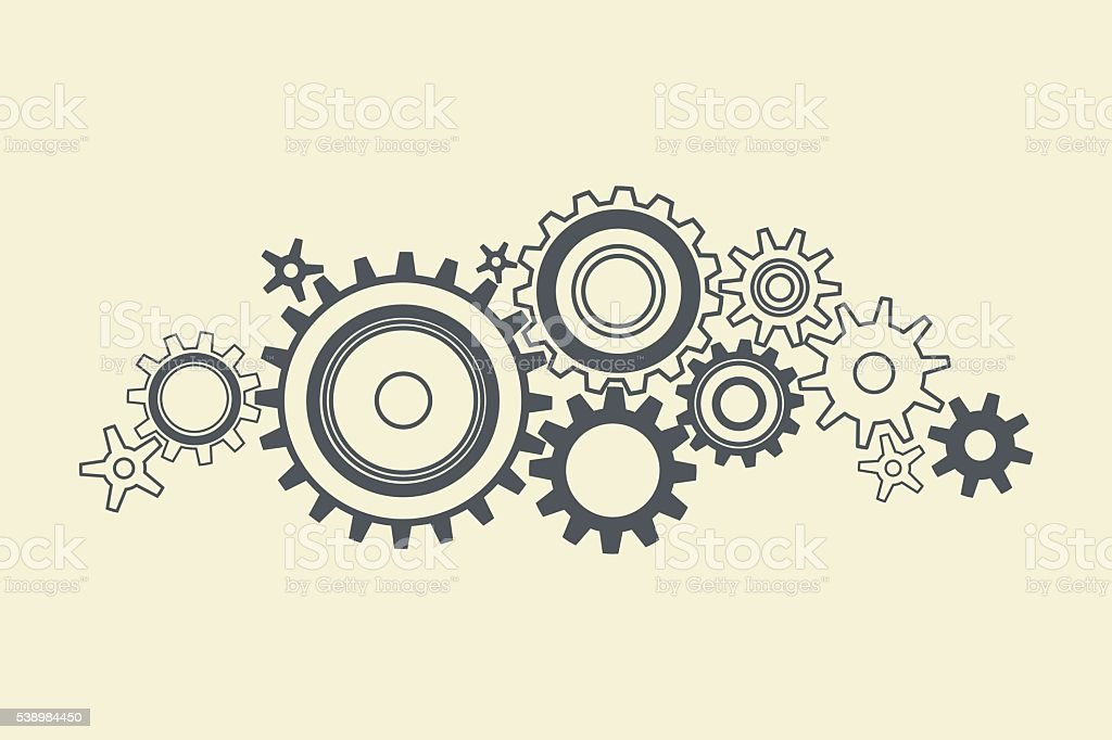 connected cogs gears vector art illustration