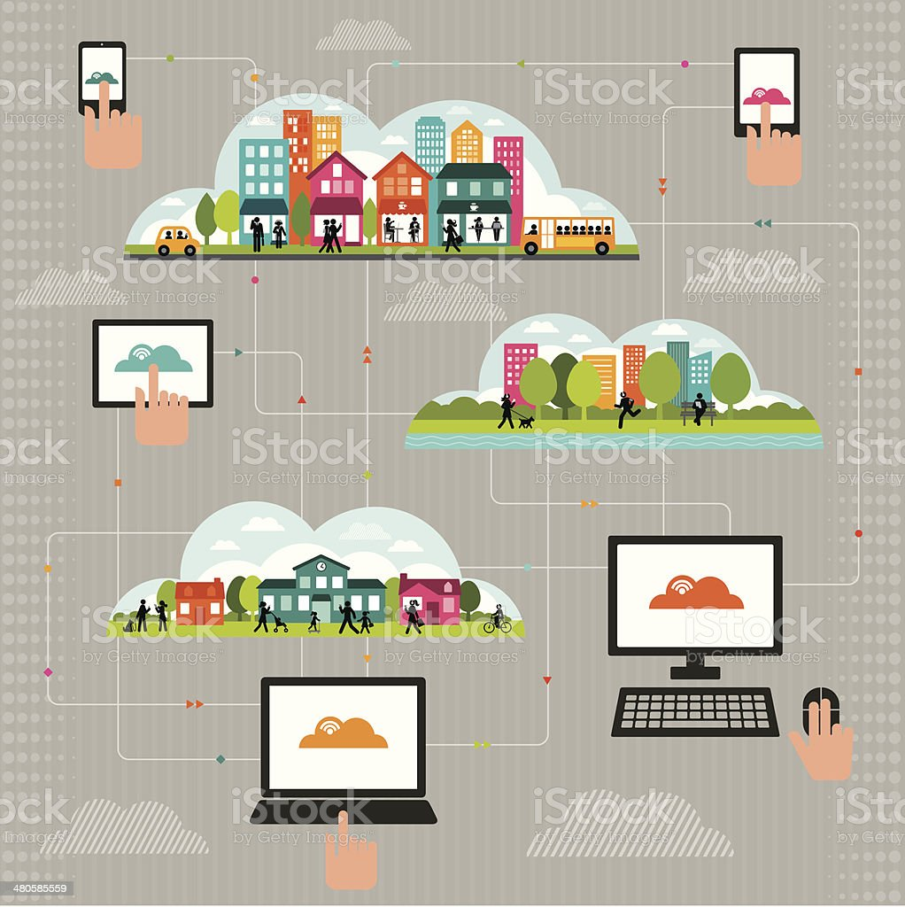 Connected Community using Wireless Technology vector art illustration
