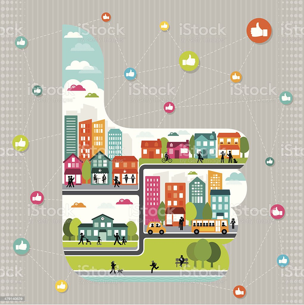 Connected Community vector art illustration
