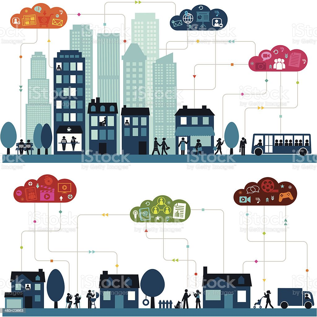 Connected Community (Horizontal) vector art illustration