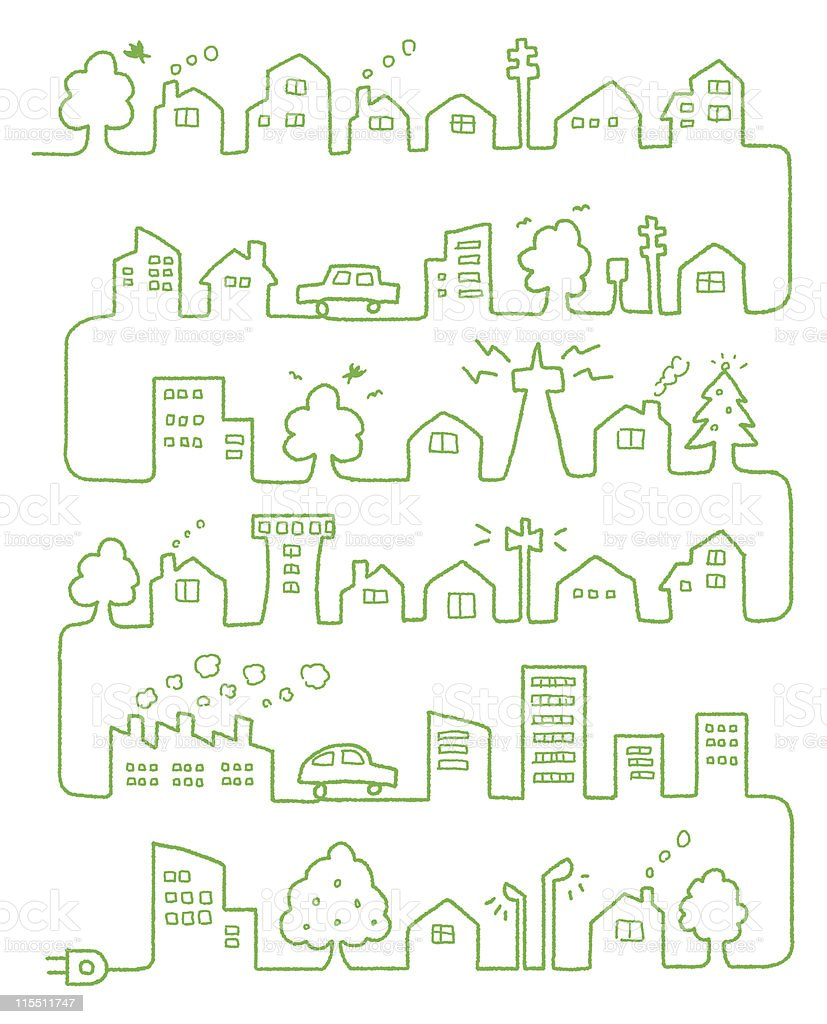Connected ecology vector art illustration