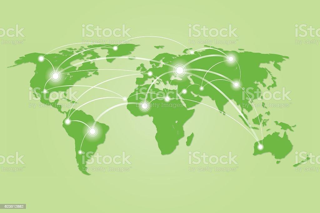 connected green world map vector art illustration