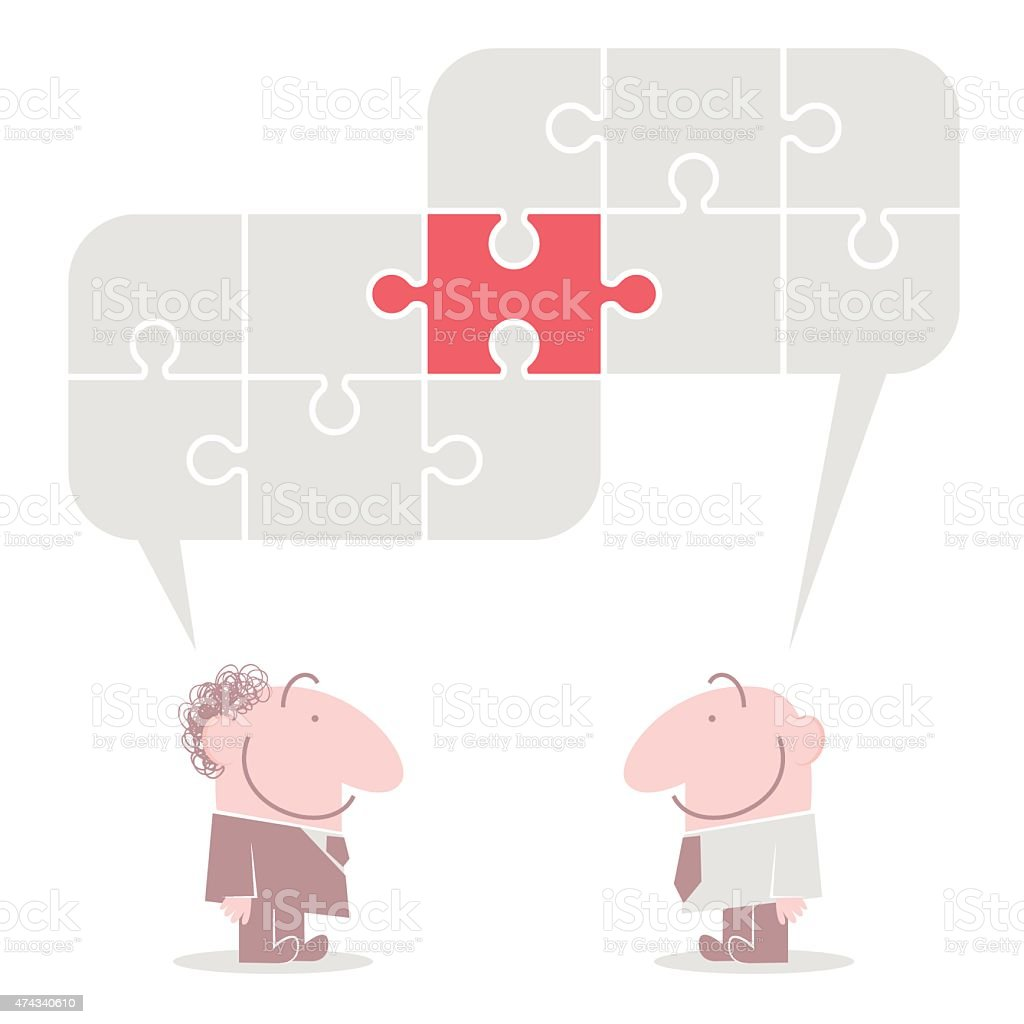 Connected jigsaw puzzle speech bubbles above talking smiling business people vector art illustration