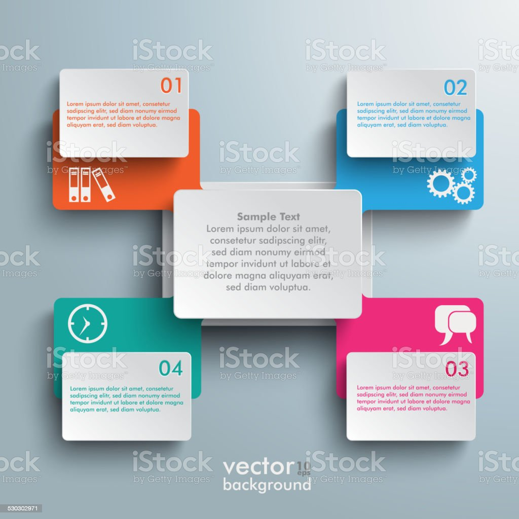 Connected Rectangles Cross Four Options Infographic vector art illustration