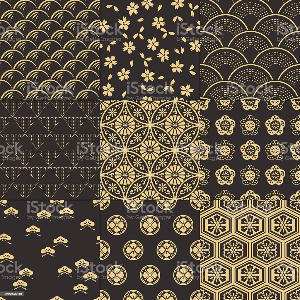 9 connected seamless traditional Japanese mesh patterns vector art illustration