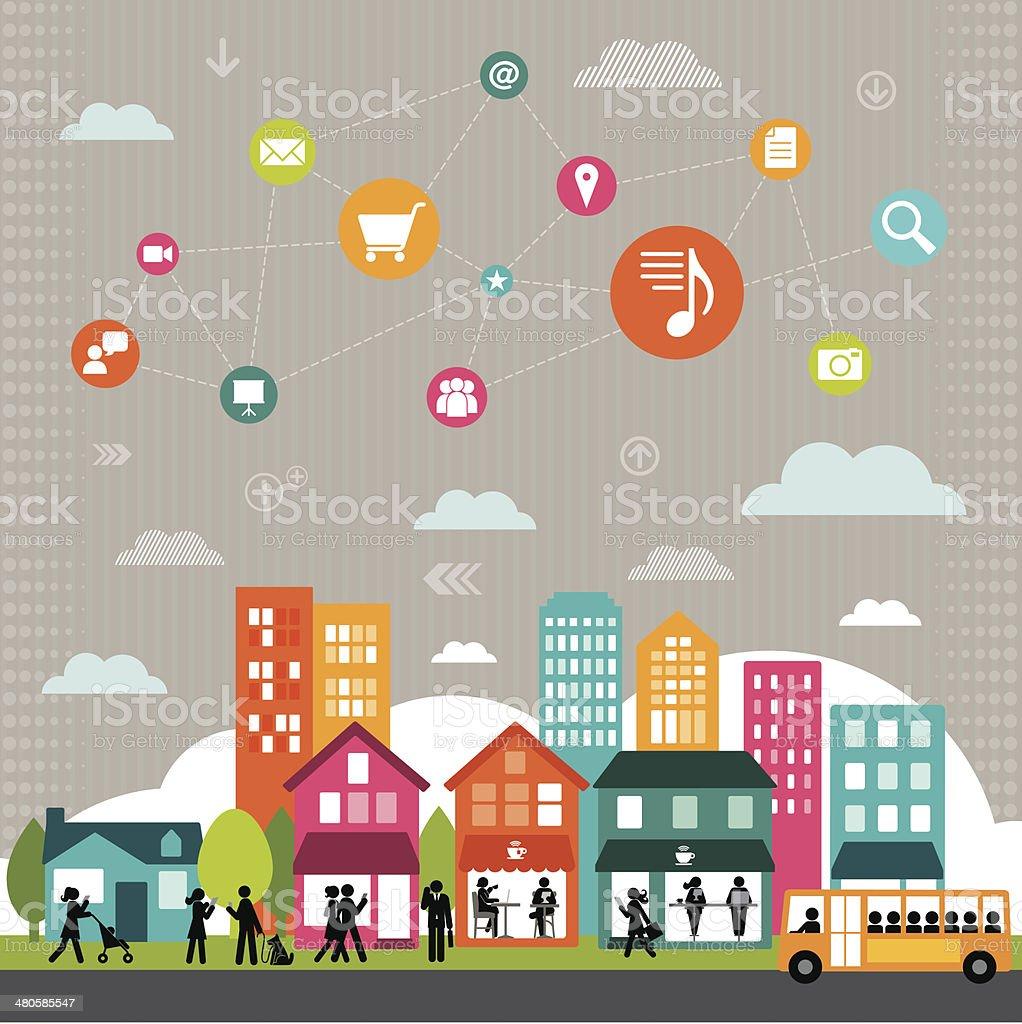 Connected Social Media Community vector art illustration