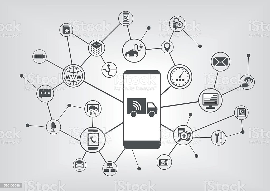 Connected trucks and autonomous driving infographic with smart phone vector art illustration