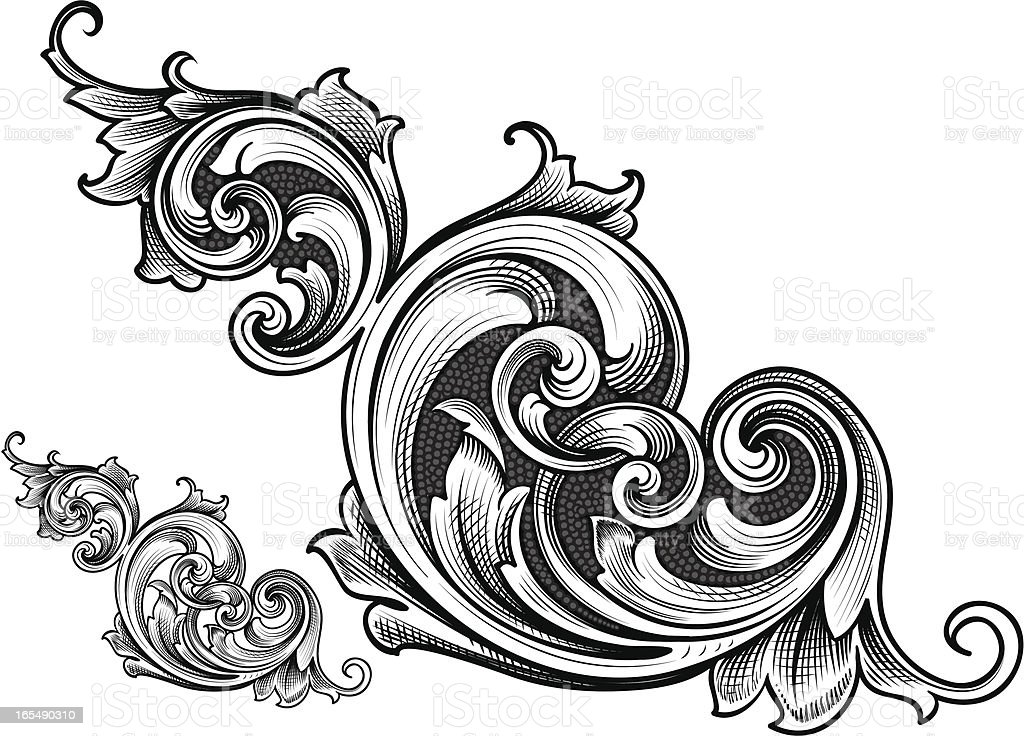 Connected Victorian Scroll vector art illustration