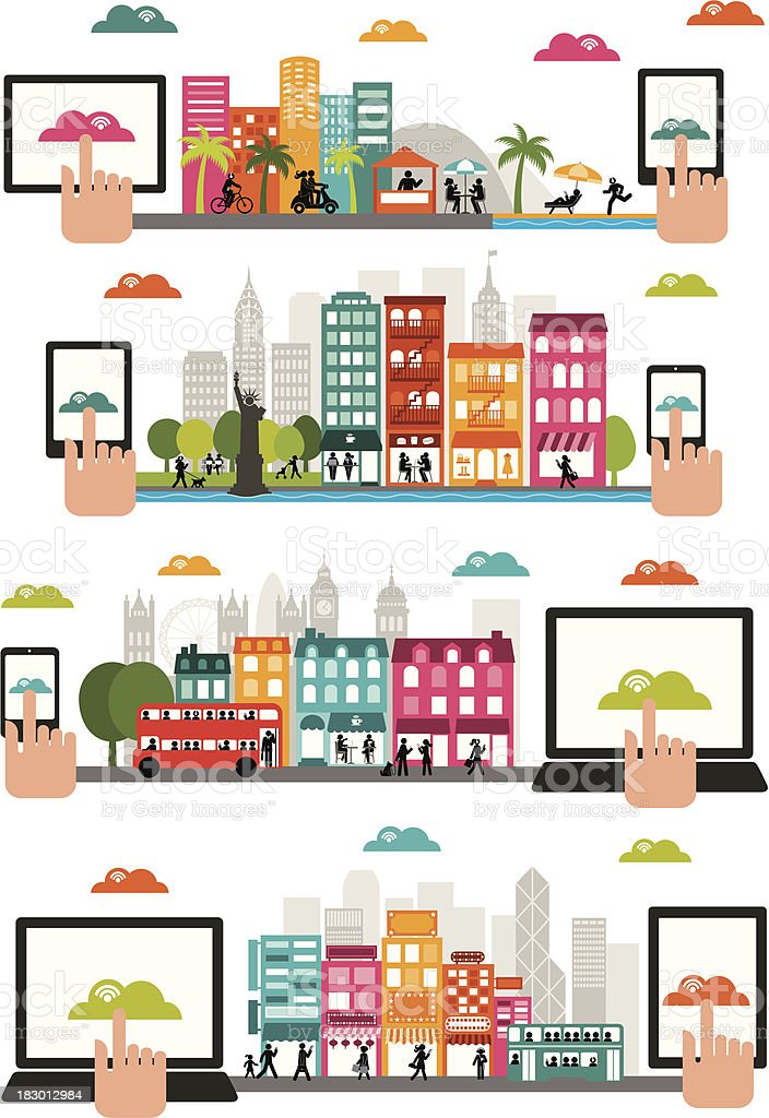Connected World - Horizontal Design vector art illustration