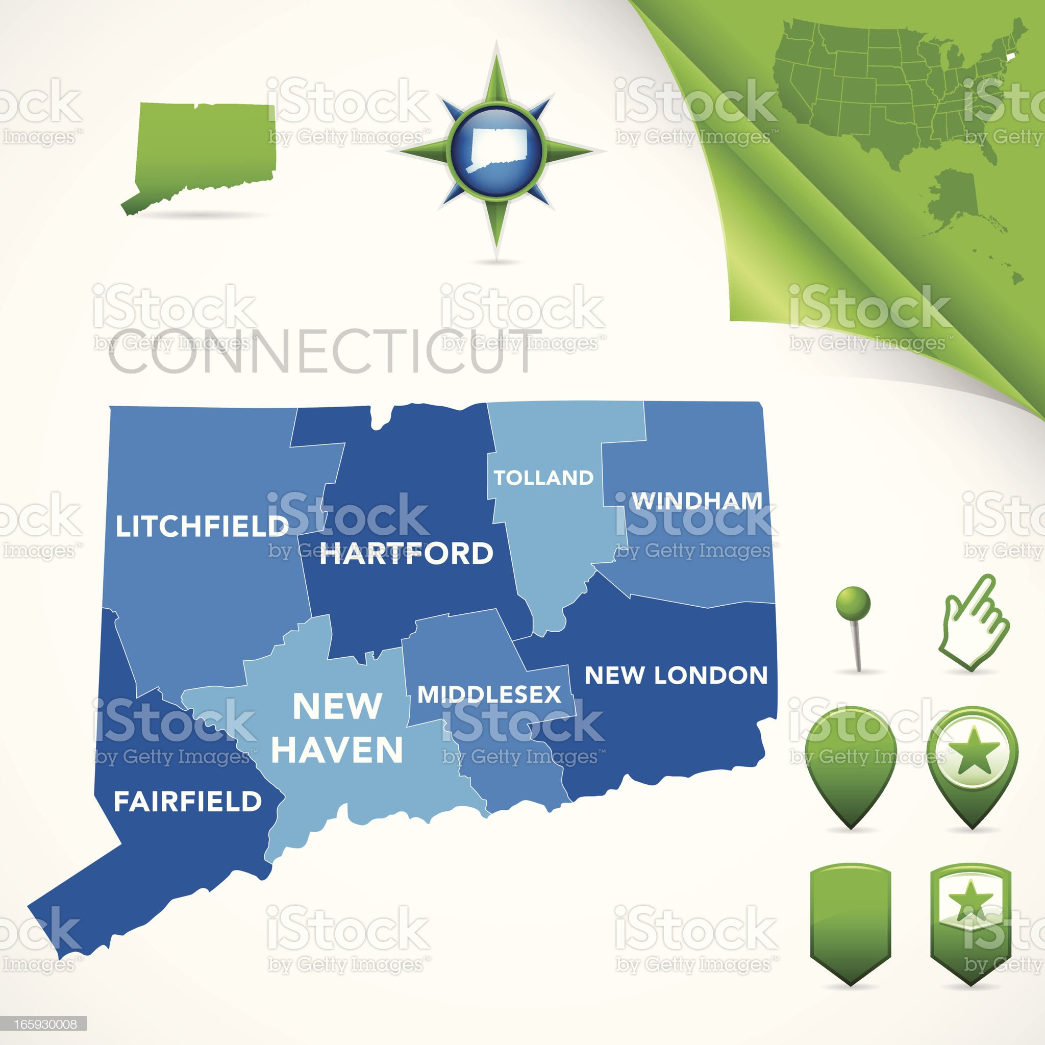 Connecticut County Map royalty-free stock vector art