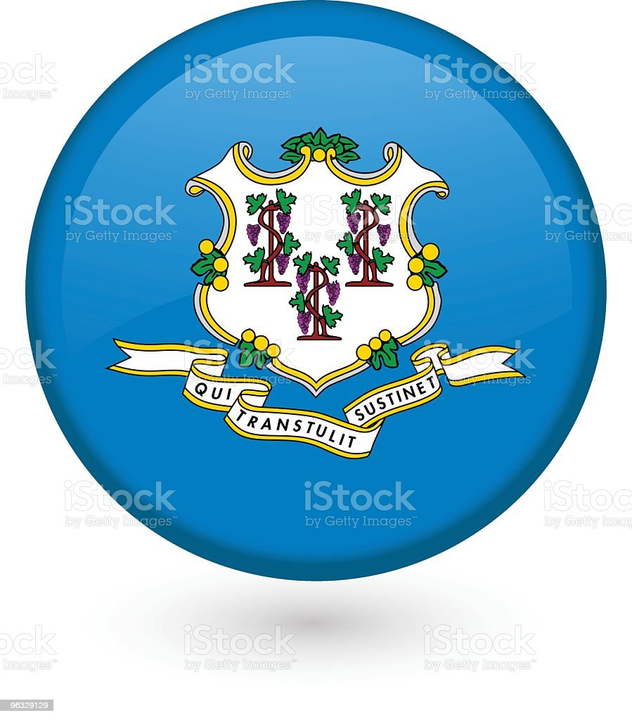 Connecticut flag button royalty-free stock vector art