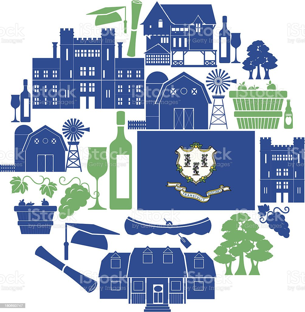 Connecticut Icon Set vector art illustration
