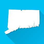 Connecticut Map on Blue Background, Long Shadow, Flat Design