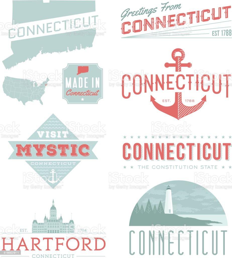 Connecticut Typography vector art illustration