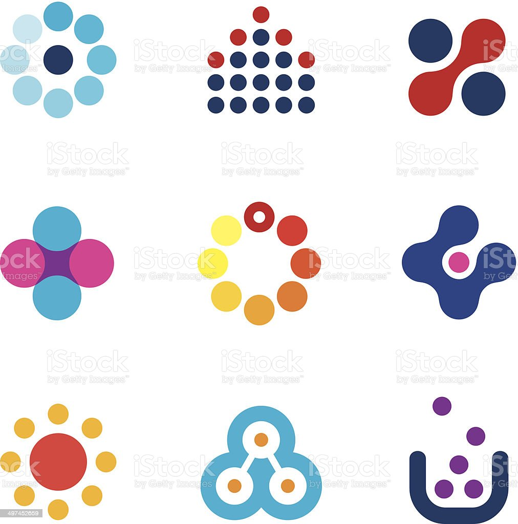 Connecting innovation new dots technology research app creativity logo icons vector art illustration