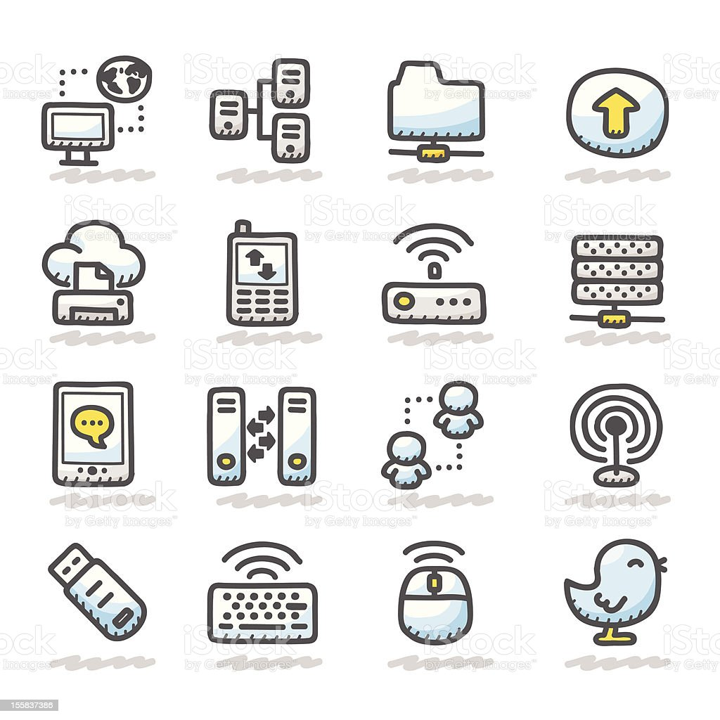 connection icons  | Cute Sketch Series. royalty-free stock vector art