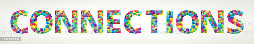 Connection on Colorful Mosaic with Triangles vector art illustration