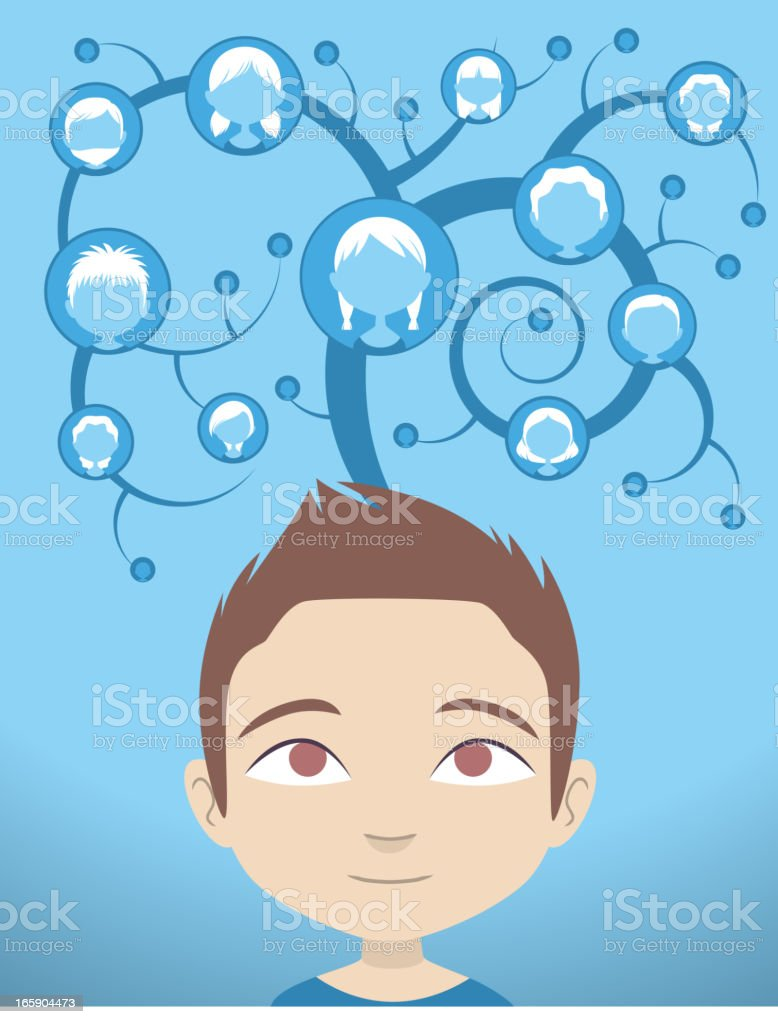 Connection tree Head and Shoulder People Avatar Profile royalty-free stock vector art