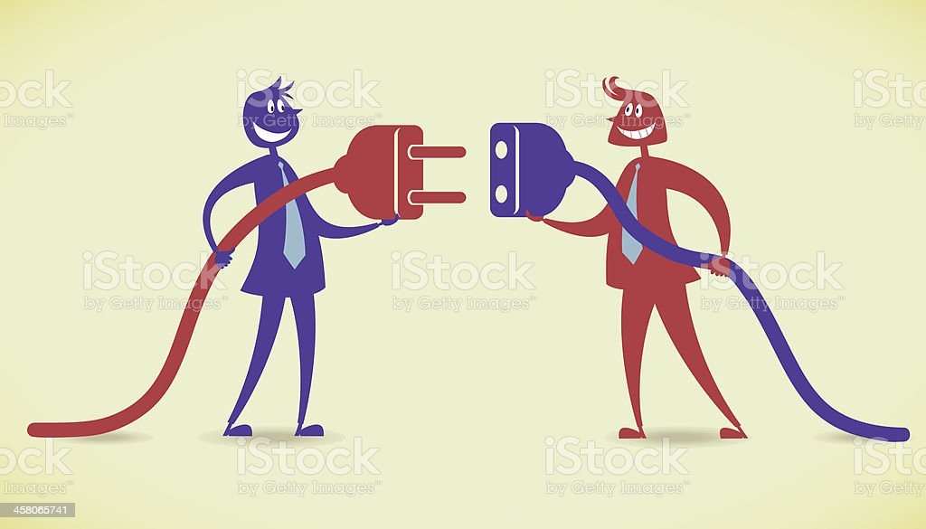 Connection with two people royalty-free stock vector art