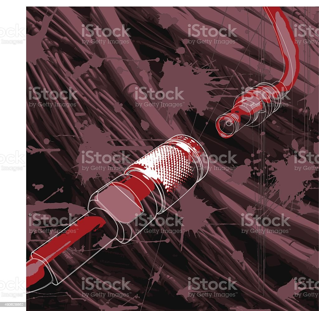 Connectors and wires, plugs N3 Male and Female. vector art illustration