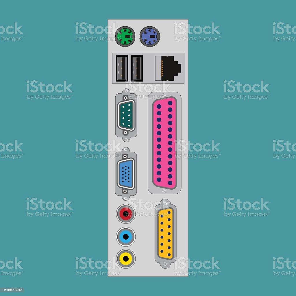 Connectors computer unit vector art illustration