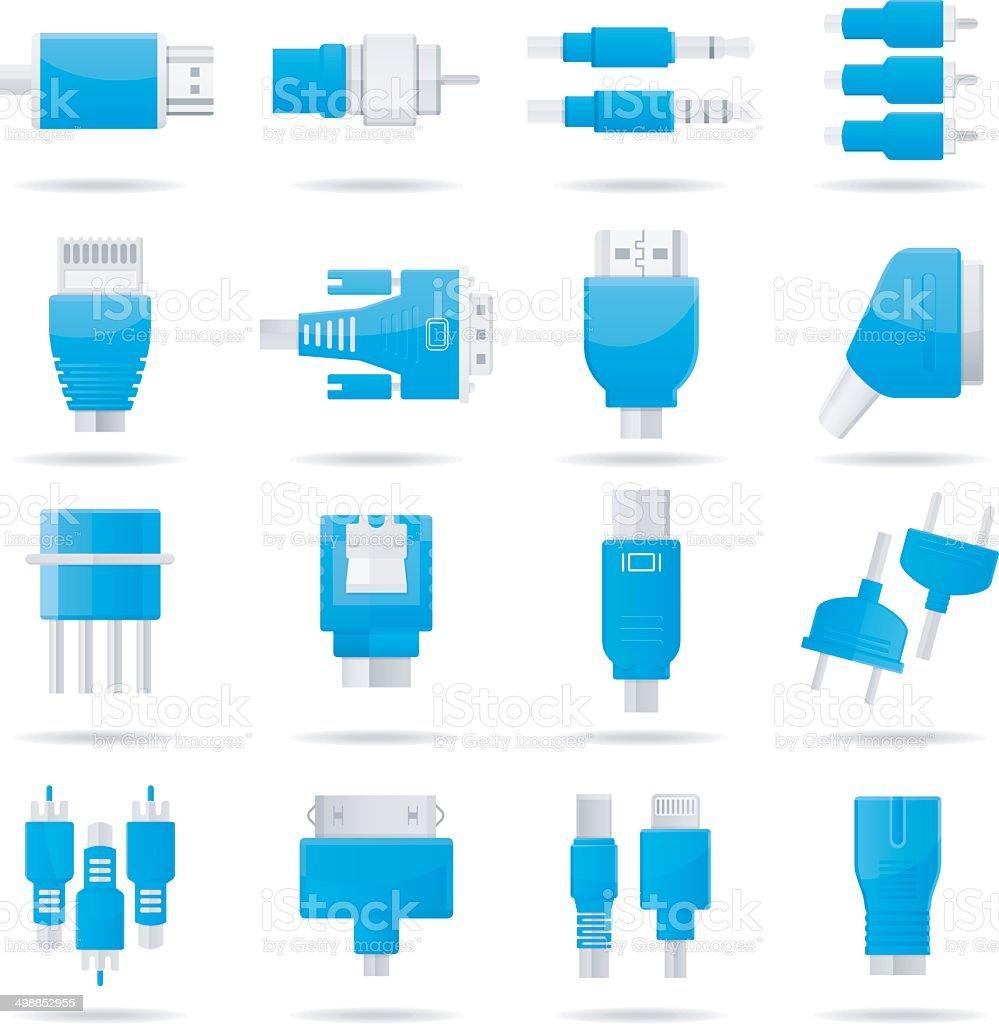 Connectors, jacks, cables - computer icons vector art illustration