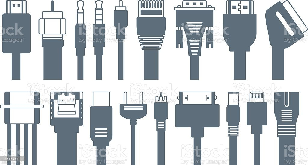 Connectors, jacks, cables - computer icons vector art illustration