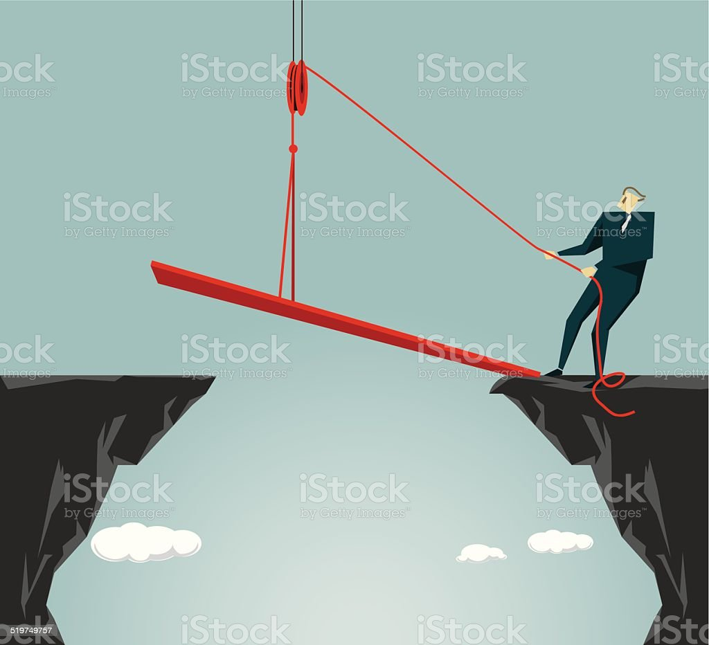 Conquering Adversity, Bridging The Gap, Solution, Success,Connection vector art illustration