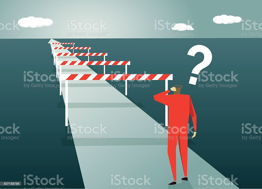 Conquering Adversity, Challenge, Road, Confusion, Uncertainty, ?, Asking, Problems vector art illustration
