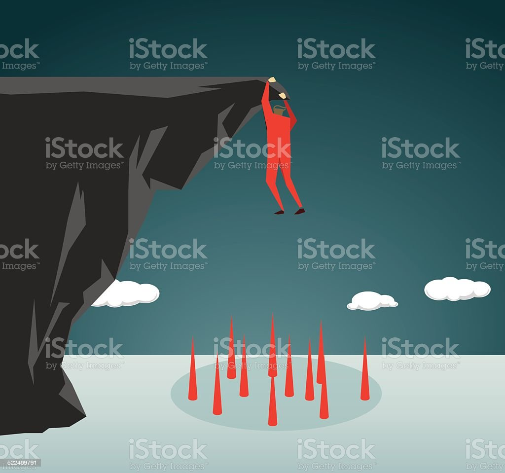 Conquering Adversity, Danger,Courage, Clambering, Trapped vector art illustration