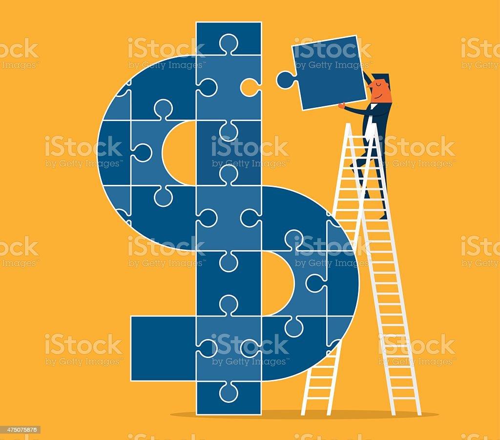 Conquering the dollar sign vector art illustration