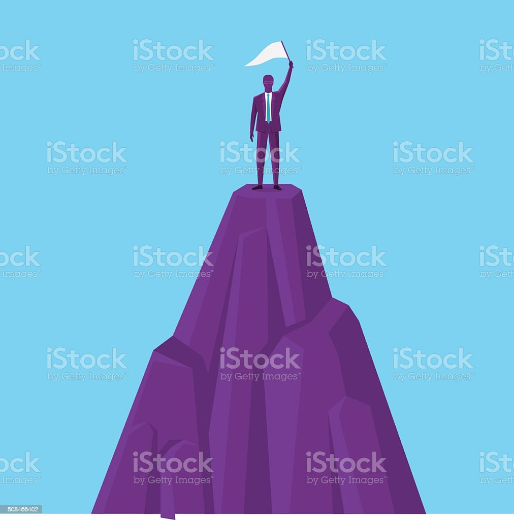 Conqueror of the mountain vector art illustration