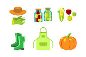 Conservation food and gardening tools vector illustration.