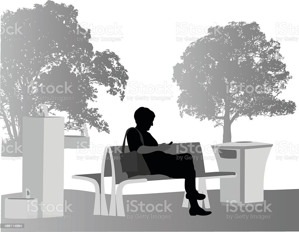 Considerate Texting In The Park vector art illustration