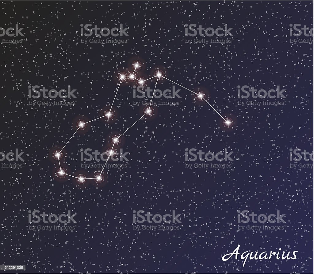 constellation aquarius vector art illustration