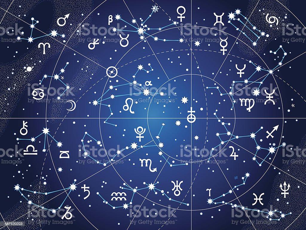 XII Constellations of Zodiac (Ultraviolet Blueprint version) vector art illustration