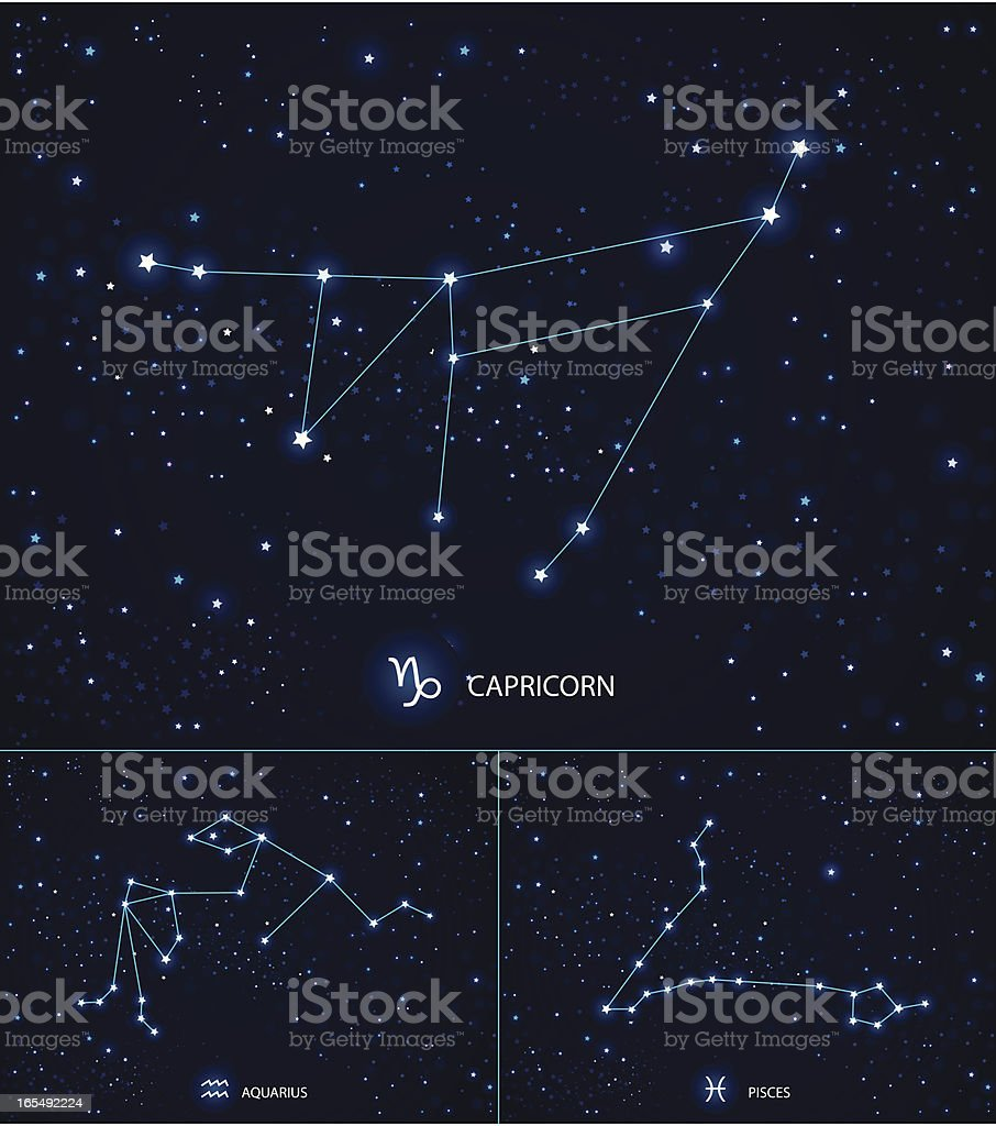 Constellations on the starry sky. Capricorn. Aquarius. Pisces. vector art illustration