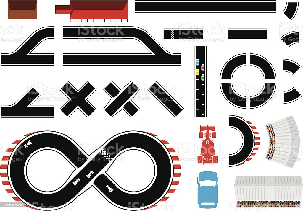 Construct-a-racetrack vector art illustration