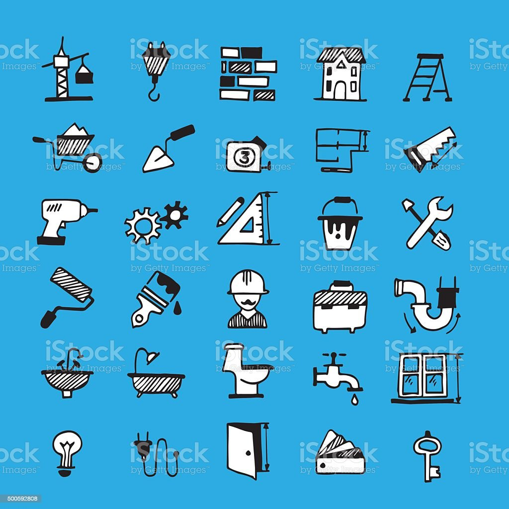Constructing icons vector art illustration