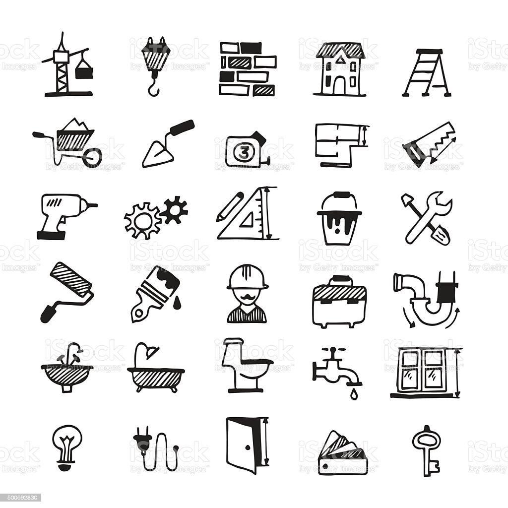 Constructing icons vector art illustration